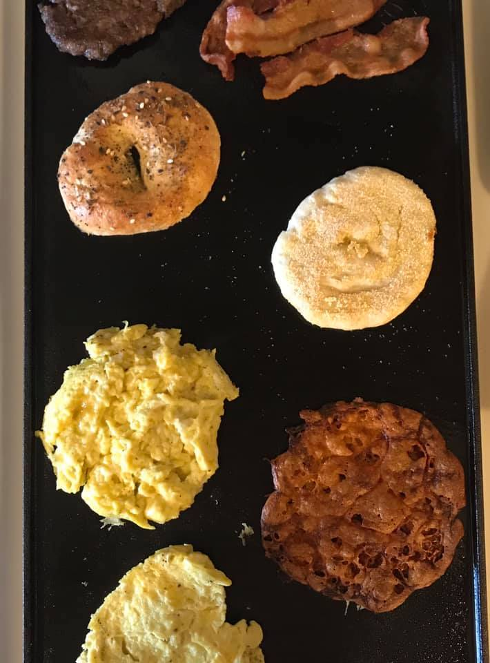 Traditional Boiled Bagel Breakfast Egg Bacon Sausage Sandwiches Recipe by Ash's In The Kitchen