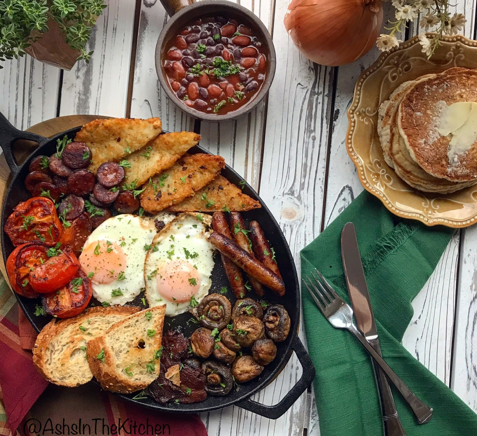 Sausage Eggs Hash Browns Tomatoes Beans Full English Fry Up Breakfast Recipe by Ash's In The Kitchen
