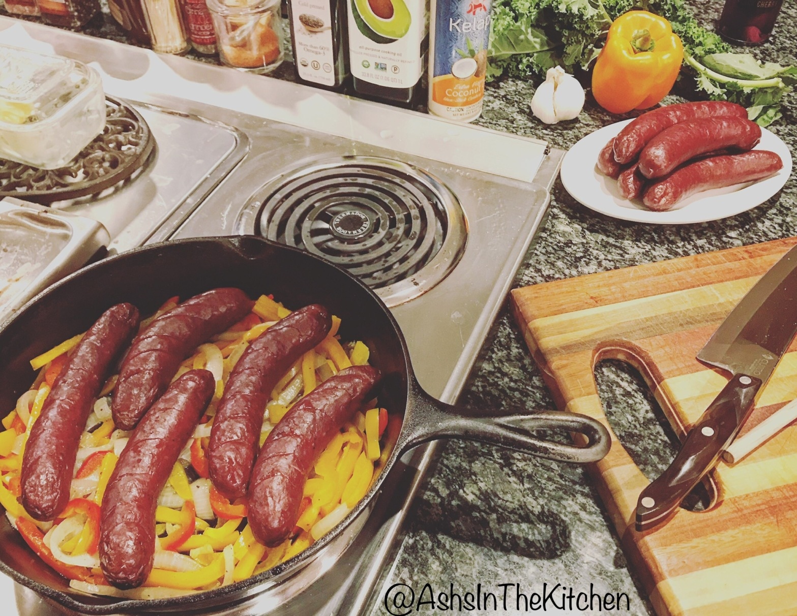 Game Meat Elk Sausage and Peppers Recipe by Ash's In The Kitchen
