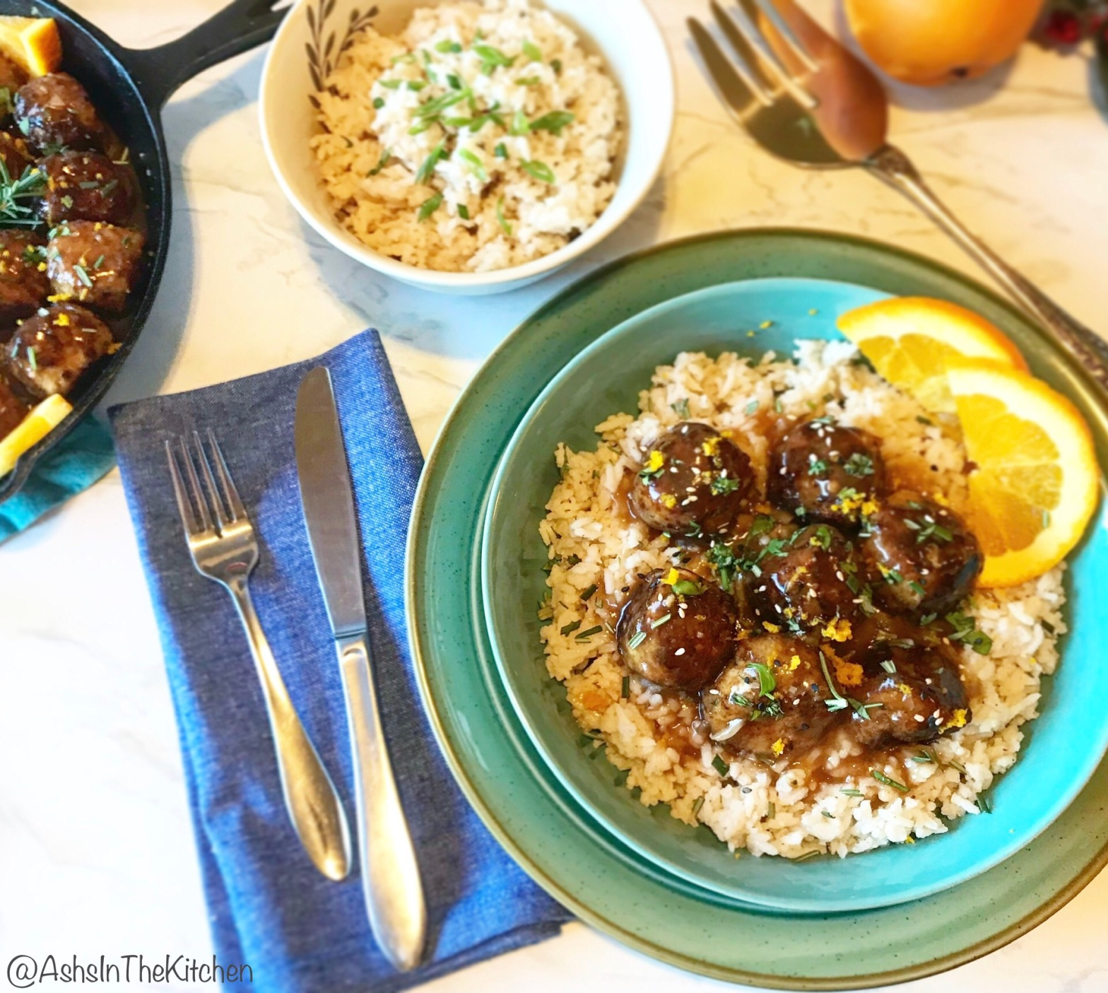 Orange Rosemary Glazed Meatballs and Rice Recipe by Ash's In The Kitchen