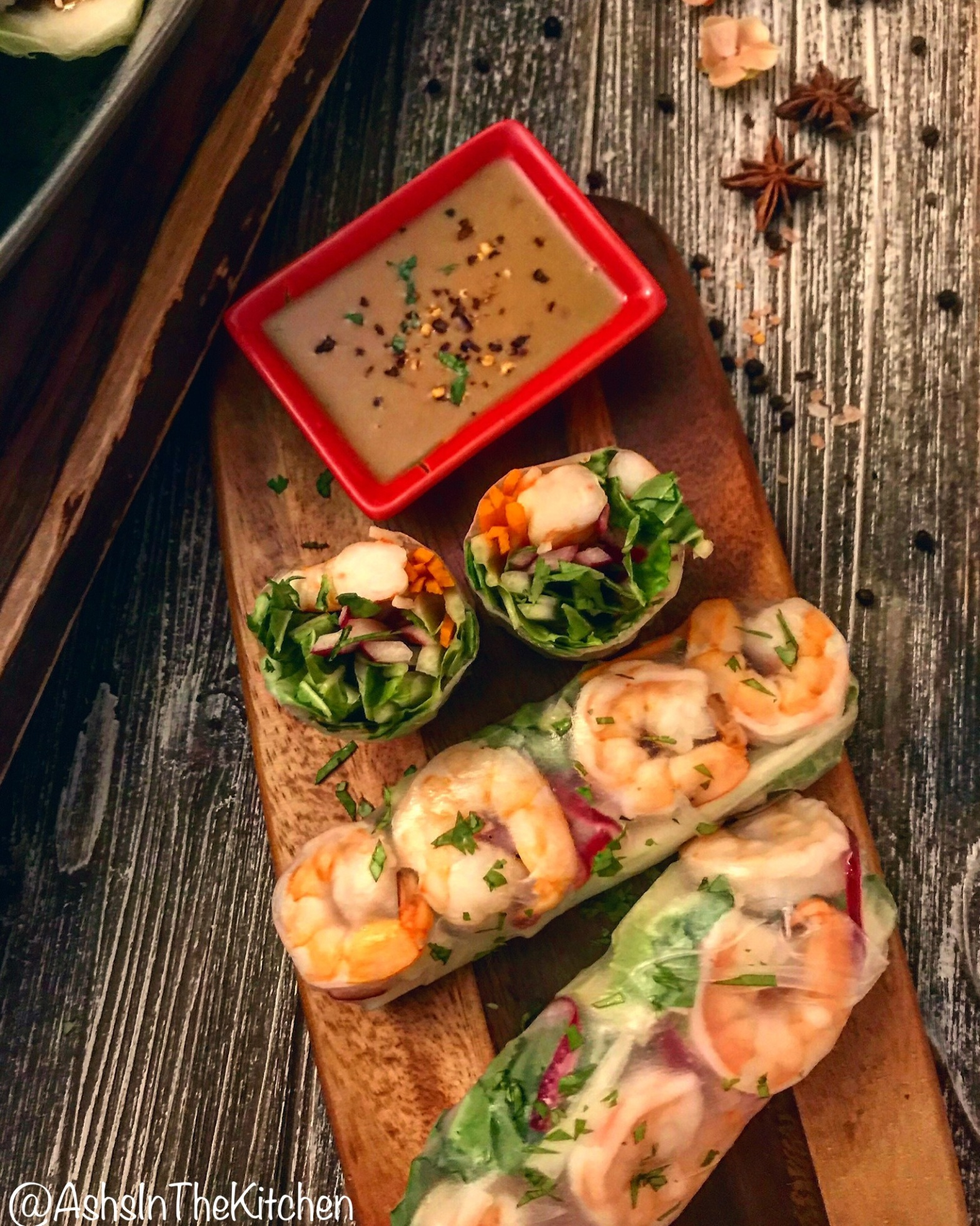 Fresh Vietnamese Shrimp Spring Rolls with Spicy Peanut Sauce Recipe by Ash's In The Kitchen