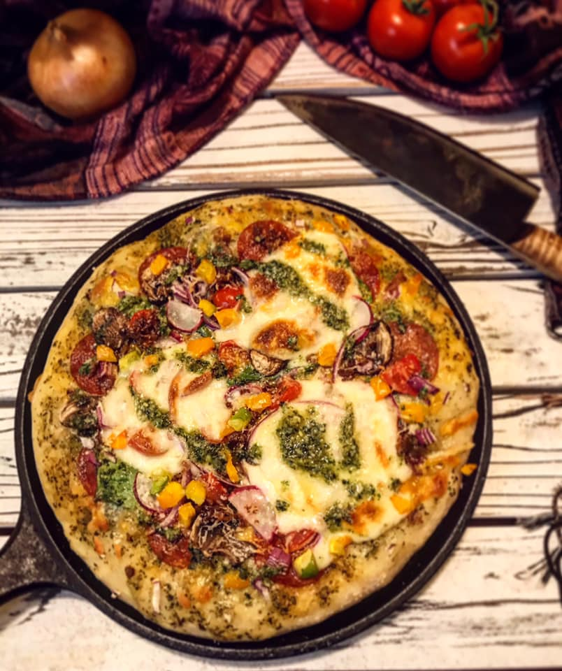 Skillet Basil Pesto Pizza Recipe by Ash's In The Kitchen