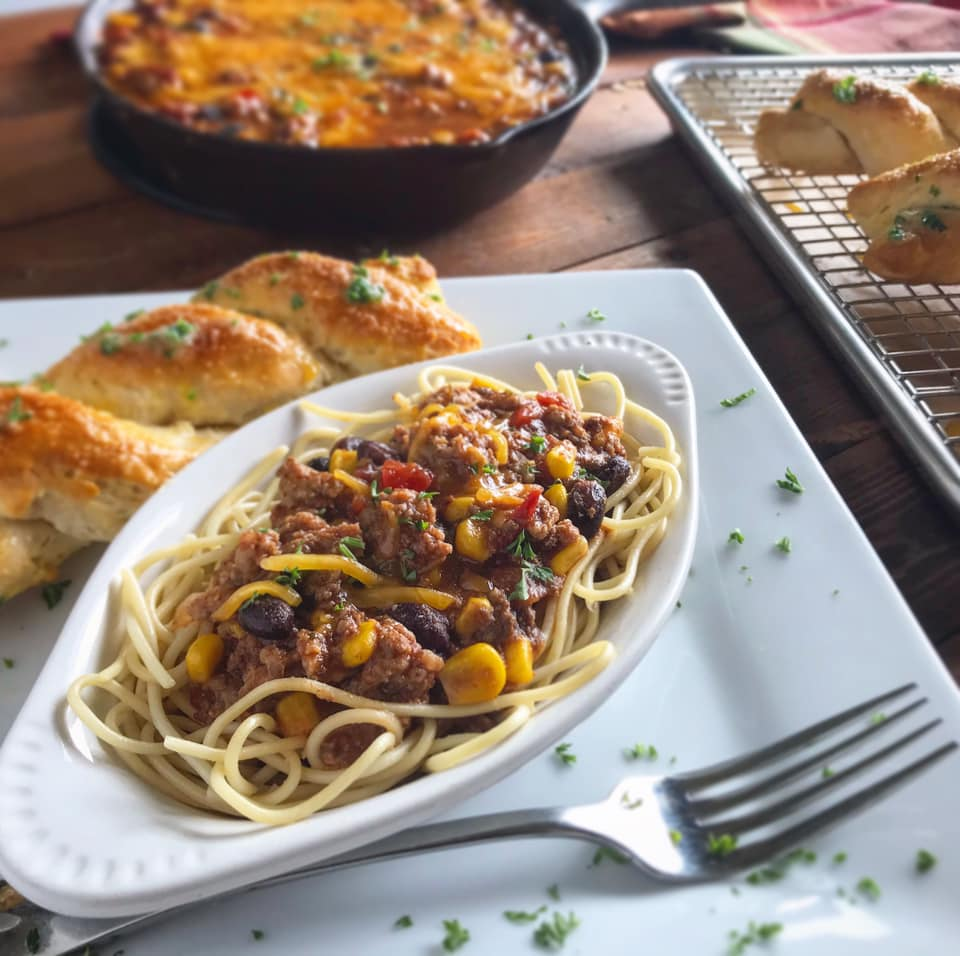 Leftover Elk Chili Spaghetti Recipe by Ash's In The Kitchen