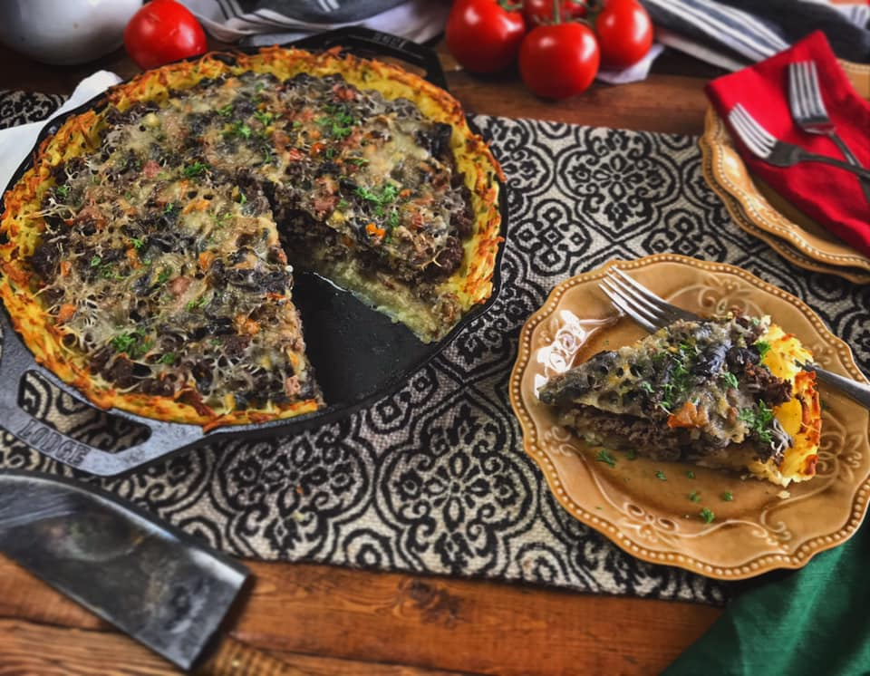 Ground Beef Vegetable Hash Brown Crust Pie Recipe by Ash's In The Kitchen