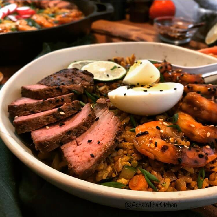 Surf and Turf Beef Shrimp Fried Rice Recipe by Ash's In The Kitchen