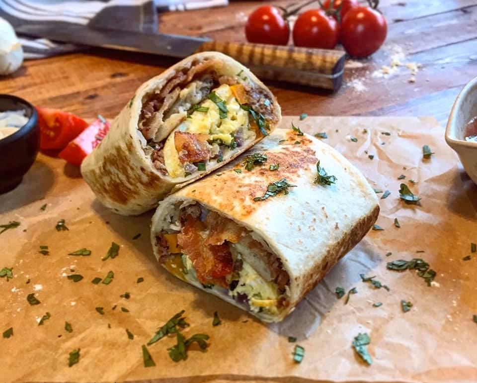 Egg Sausage Bacon Breakfast Burrito Recipe by Ash's In The Kitchen