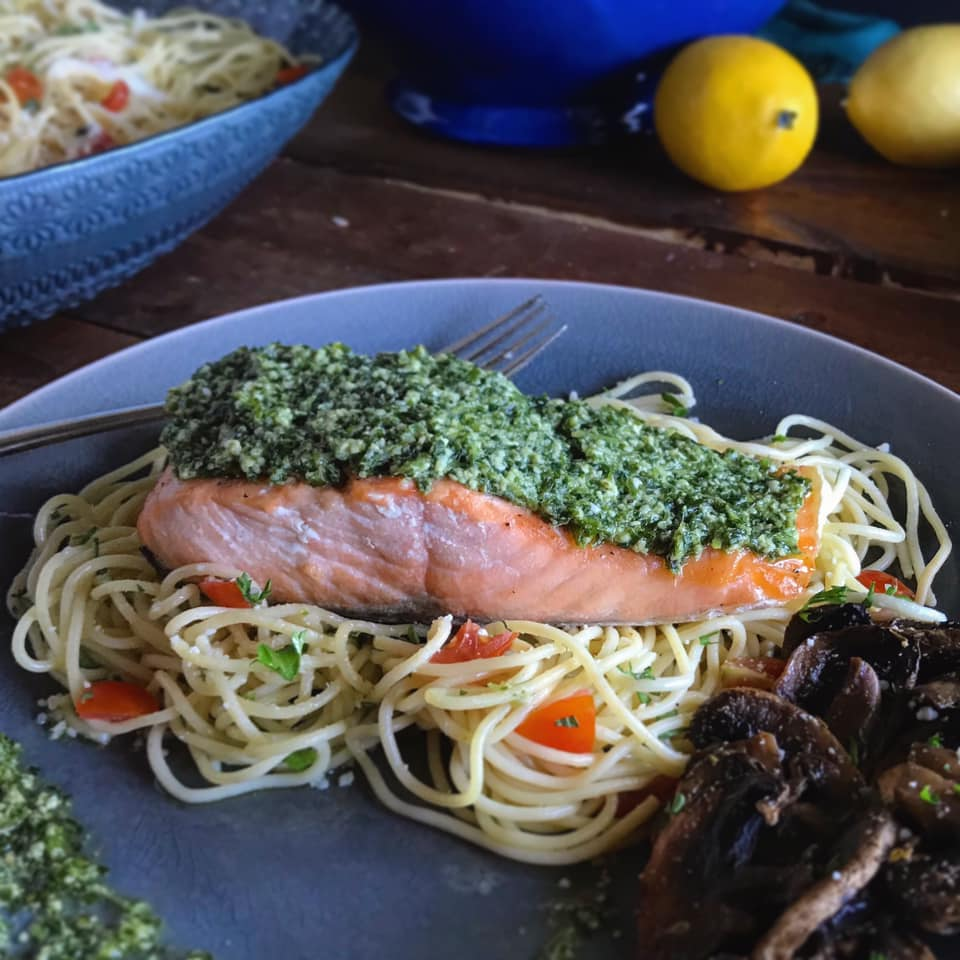 Healthy Baked Basil Pesto Salmon Recipe by Ash's In The Kitchen