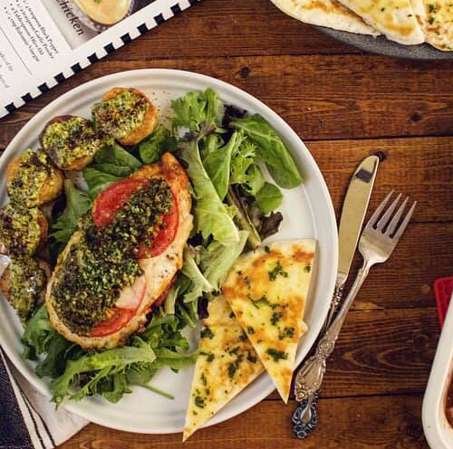 Basil Herbs Baked Pesto Caprese Chicken Breasts Recipe by Ash's In The Kitchen