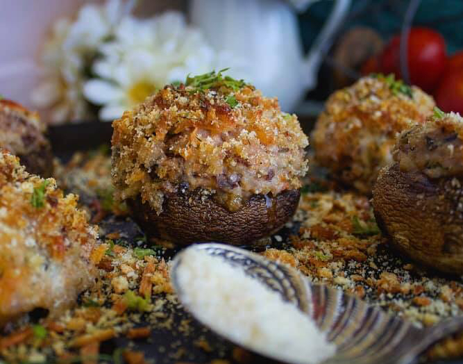 Baked Appetizer Cream Cheese Wild Rice Stuffed Mushrooms Recipe by Ash's In The Kitchen